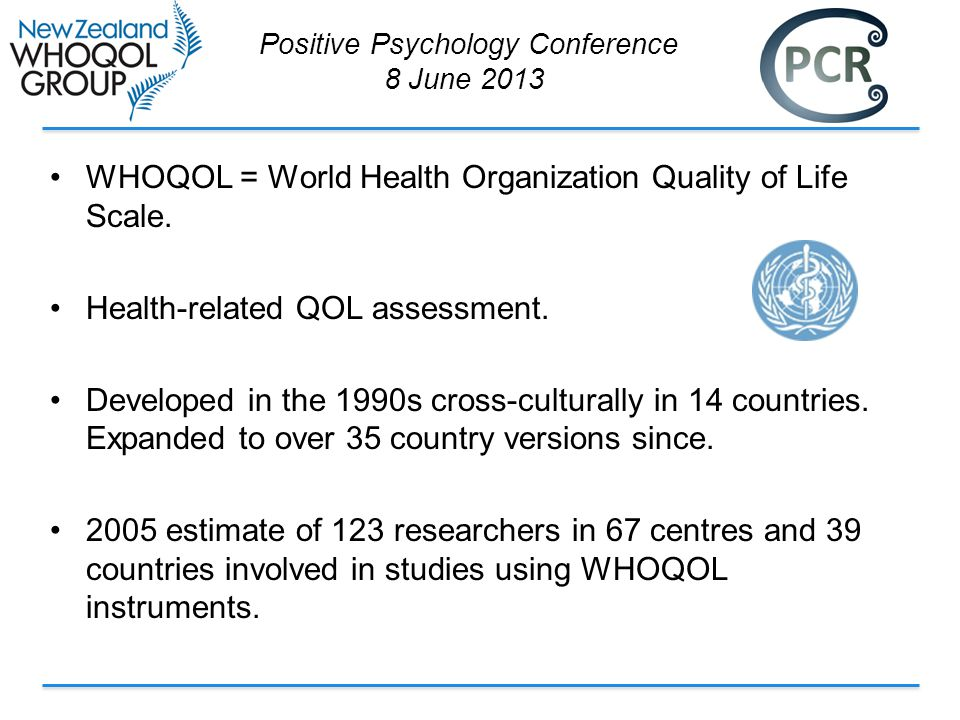 WHOQOL = World Health Organization Quality of Life Scale.