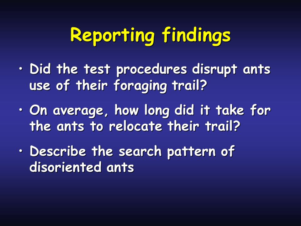 Reporting findings Did the test procedures disrupt ants use of their foraging trail?Did the test procedures disrupt ants use of their foraging trail.