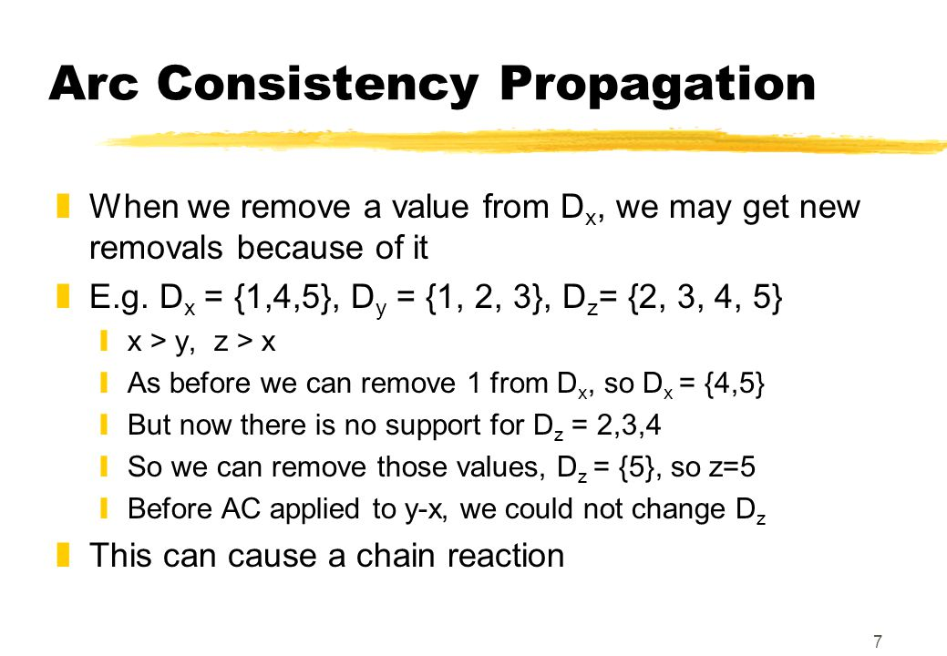 7 Arc Consistency Propagation zWhen we remove a value from D x, we may get new removals because of it zE.g.