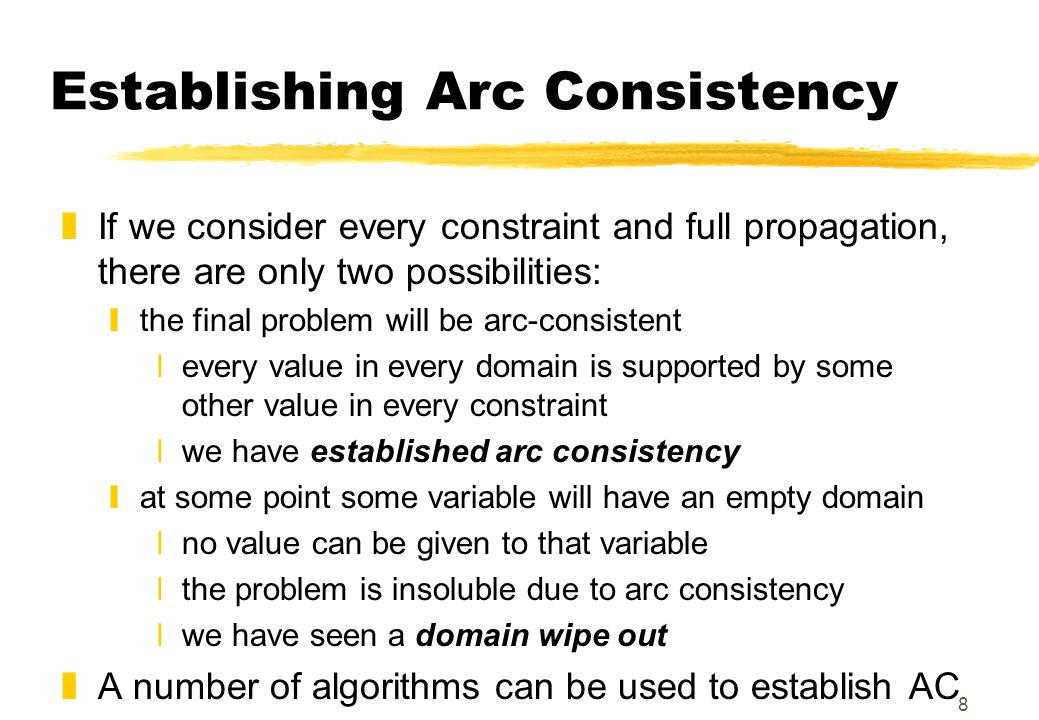 8 Establishing Arc Consistency zIf we consider every constraint and full propagation, there are only two possibilities: ythe final problem will be arc