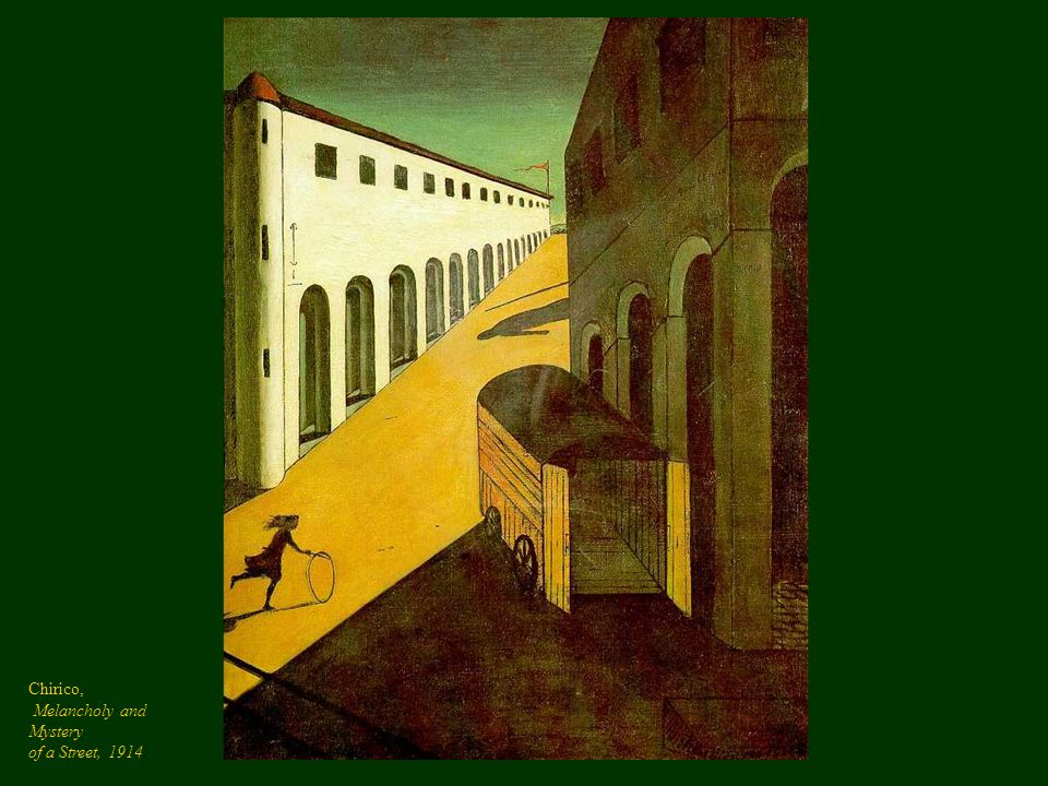 Chirico, Melancholy and Mystery of a Street, 1914.