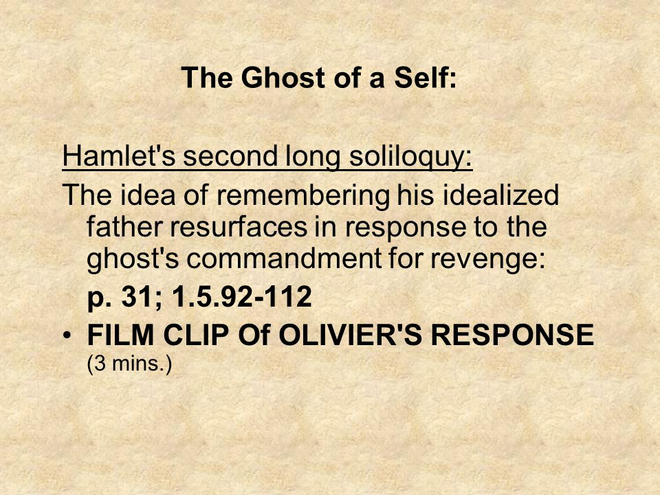 The Ghost of a Self: Hamlet s second long soliloquy: The idea of remembering his idealized father resurfaces in response to the ghost s commandment for revenge: p.