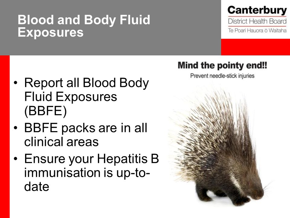 Blood and Body Fluid Exposures Report all Blood Body Fluid Exposures (BBFE) BBFE packs are in all clinical areas Ensure your Hepatitis B immunisation