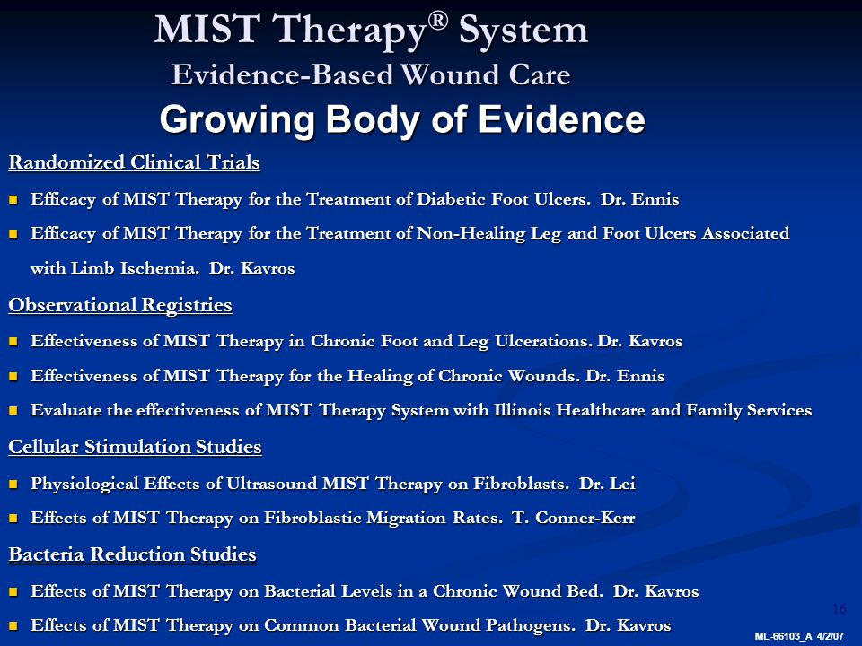 16 Randomized Clinical Trials Efficacy of MIST Therapy for the Treatment of Diabetic Foot Ulcers.