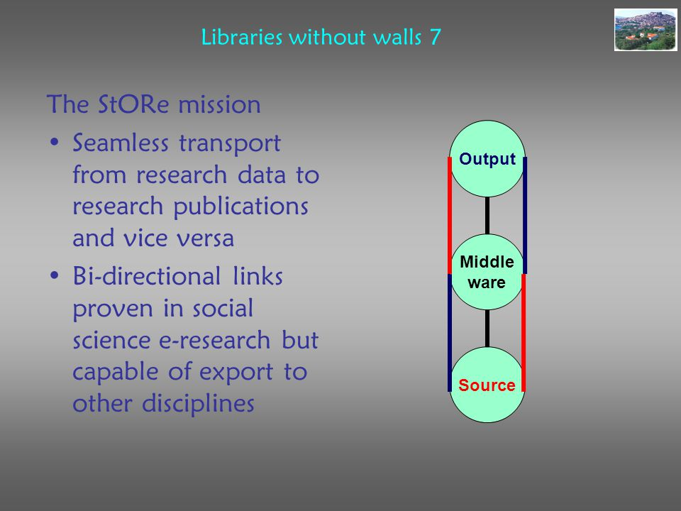Libraries without walls 7 The StORe mission Seamless transport from research data to research publications and vice versa Bi-directional links proven in social science e-research but capable of export to other disciplines