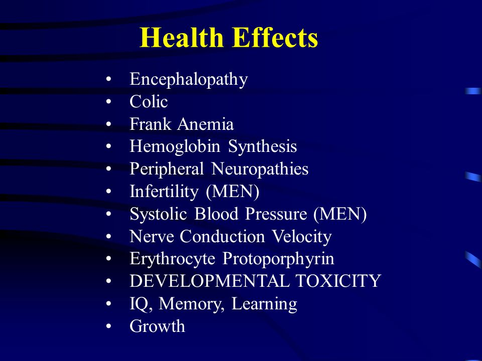 Health Effects Encephalopathy Colic Frank Anemia Hemoglobin Synthesis Peripheral Neuropathies Infertility (MEN) Systolic Blood Pressure (MEN) Nerve Co
