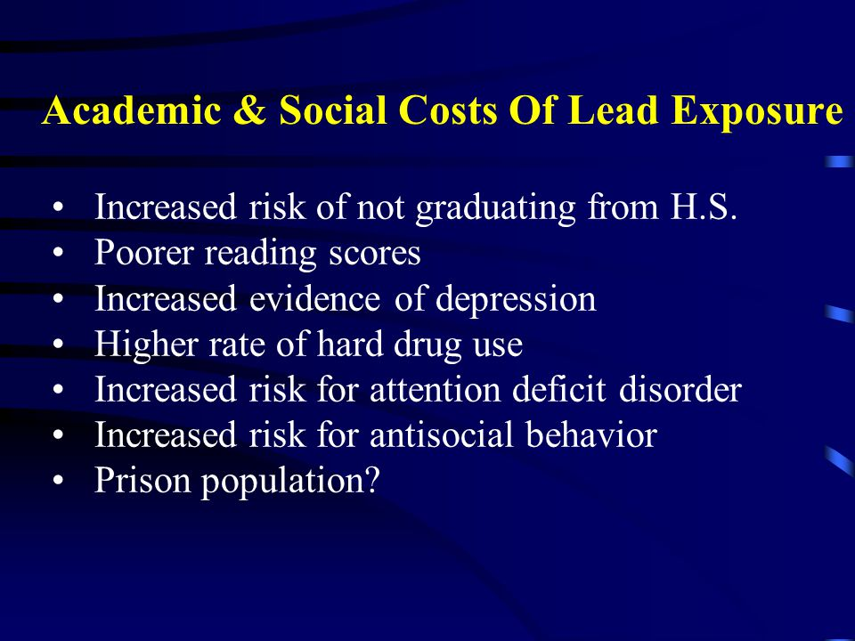 Increased risk of not graduating from H.S. Poorer reading scores Increased evidence of depression Higher rate of hard drug use Increased risk for atte