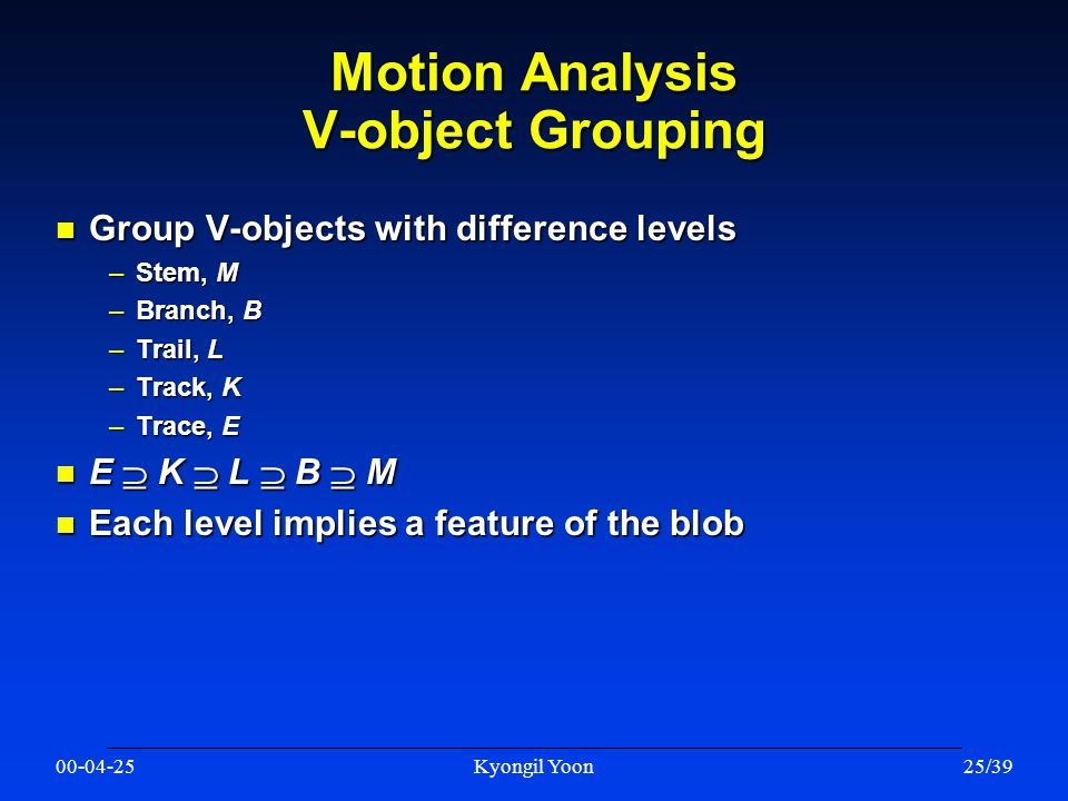 00-04-25Kyongil Yoon25/39 Motion Analysis V-object Grouping n Group V-objects with difference levels –Stem, M –Branch, B –Trail, L –Track, K –Trace, E n E  K  L  B  M n Each level implies a feature of the blob