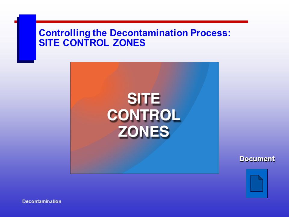 Decontamination Controlling the Decontamination Process: SITE CONTROL ZONES Document