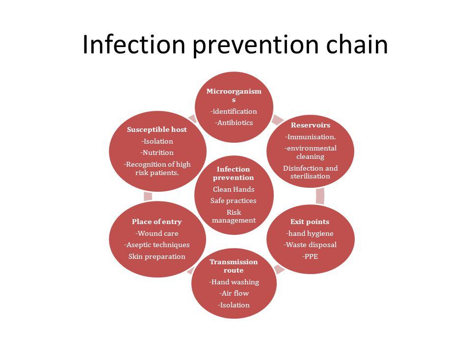 Infection prevention chain Infection prevention Clean Hands Safe practices Risk management Microorganism s -identification -Antibiotics Reservoirs -Im