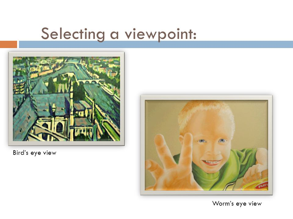 Selecting a viewpoint: Bird's eye view Worm's eye view