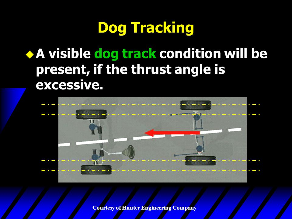 Courtesy of Hunter Engineering Company Dog Tracking u A visible dog track condition will be present, if the thrust angle is excessive.