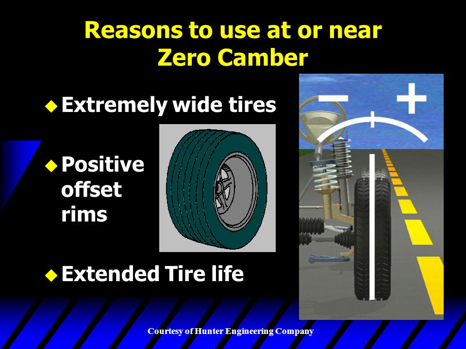 Courtesy of Hunter Engineering Company Reasons to use at or near Zero Camber u Extremely wide tires u Positive offset rims u Extended Tire life