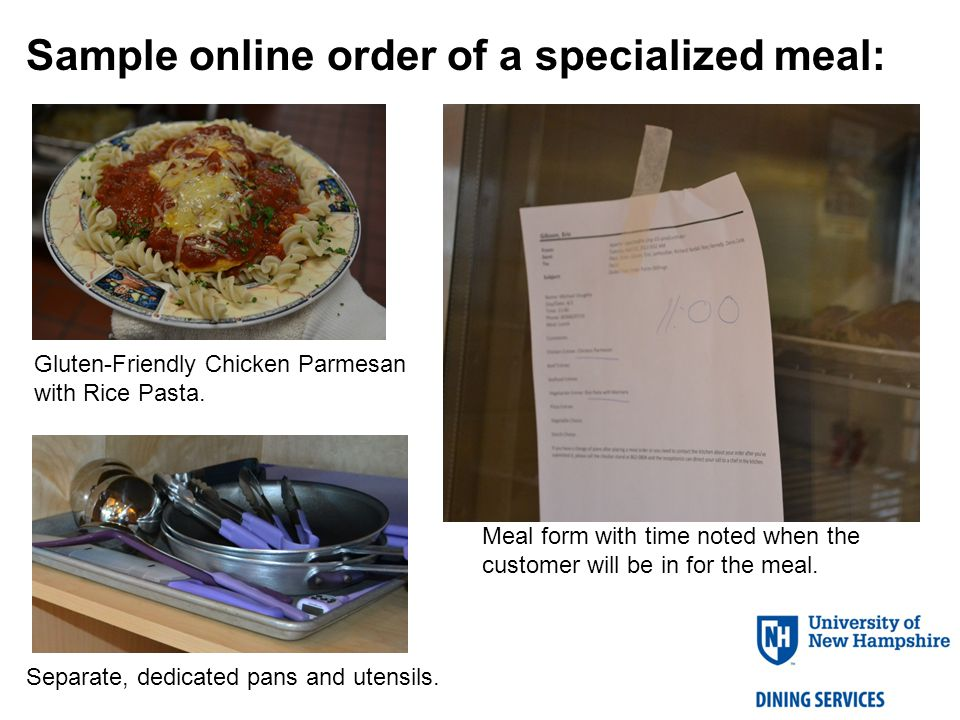 Sample online order of a specialized meal: Gluten-Friendly Chicken Parmesan with Rice Pasta.