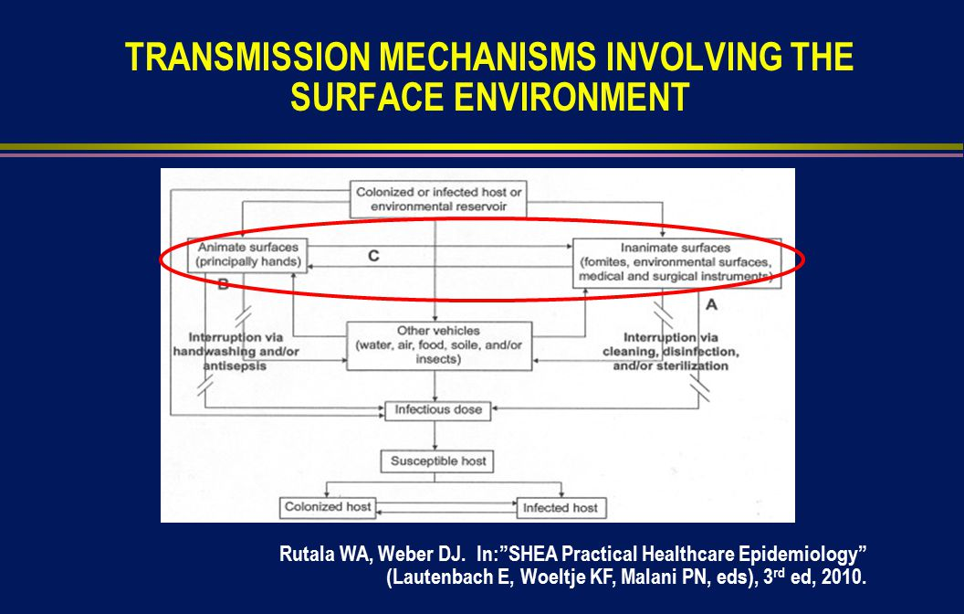 TRANSMISSION MECHANISMS INVOLVING THE SURFACE ENVIRONMENT Rutala WA, Weber DJ.