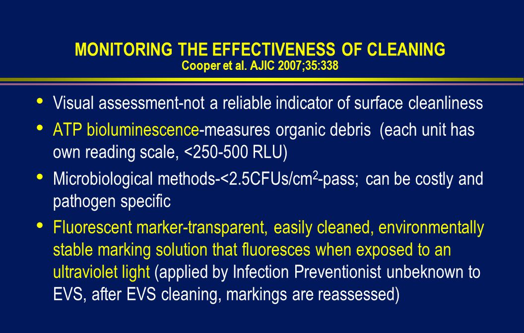 MONITORING THE EFFECTIVENESS OF CLEANING Cooper et al.