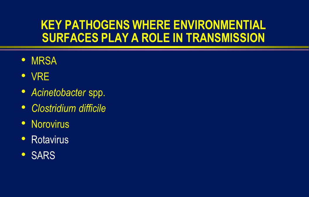 KEY PATHOGENS WHERE ENVIRONMENTIAL SURFACES PLAY A ROLE IN TRANSMISSION MRSA VRE Acinetobacter spp.