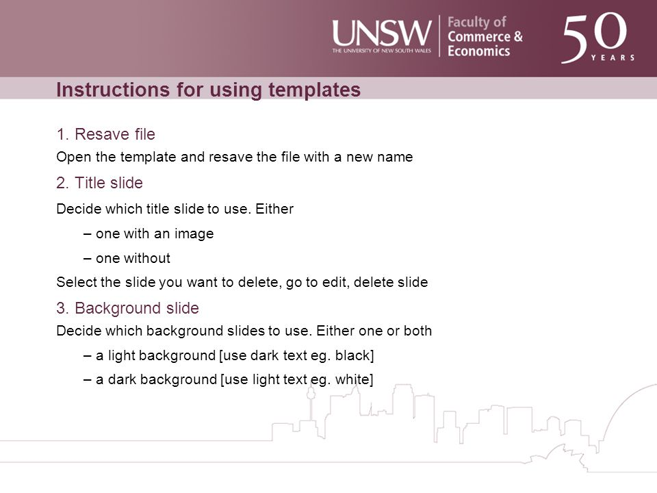 Instructions for using templates 1.