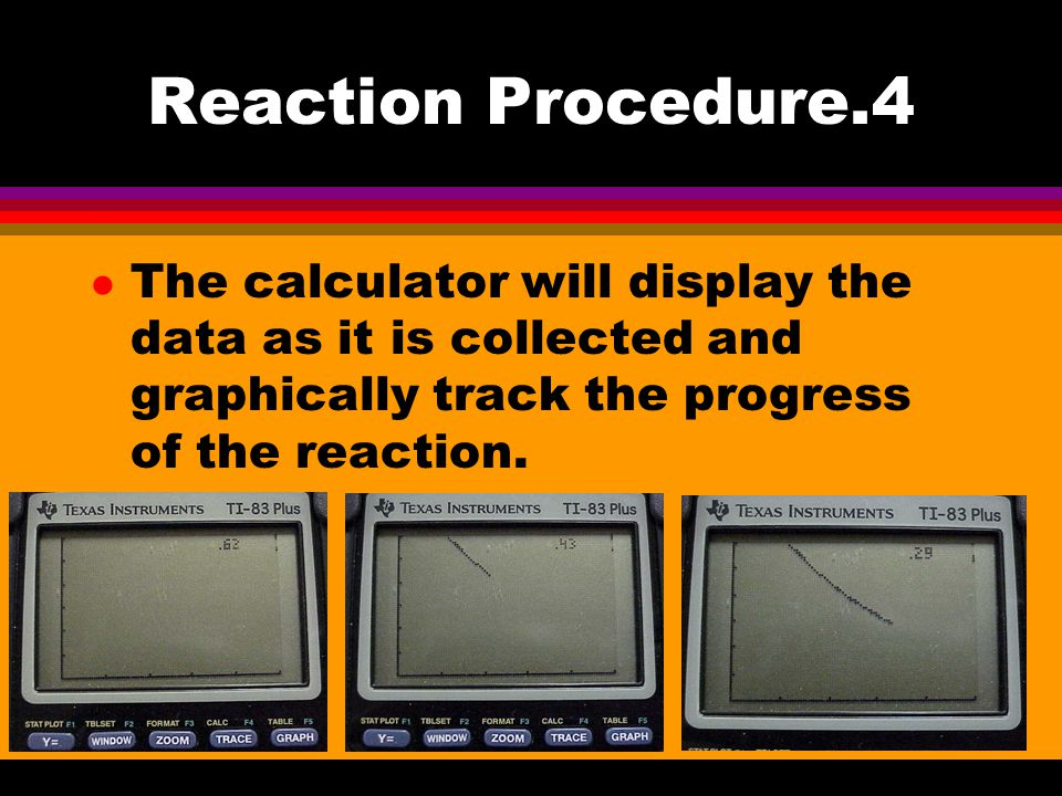Reaction Procedure.4 l The calculator will display the data as it is collected and graphically track the progress of the reaction.