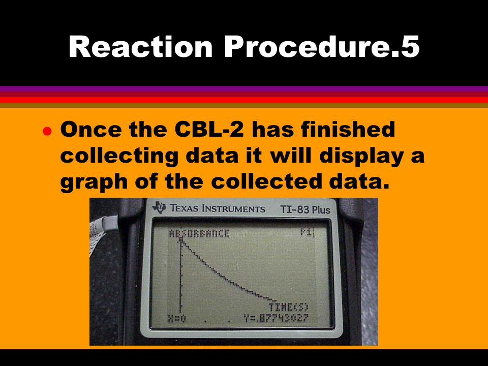 Reaction Procedure.5 l Once the CBL-2 has finished collecting data it will display a graph of the collected data.