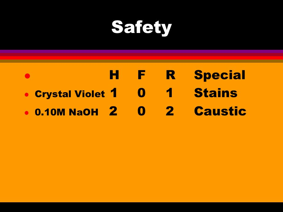 Safety l HFRSpecial l Crystal Violet 101Stains l 0.10M NaOH 202Caustic