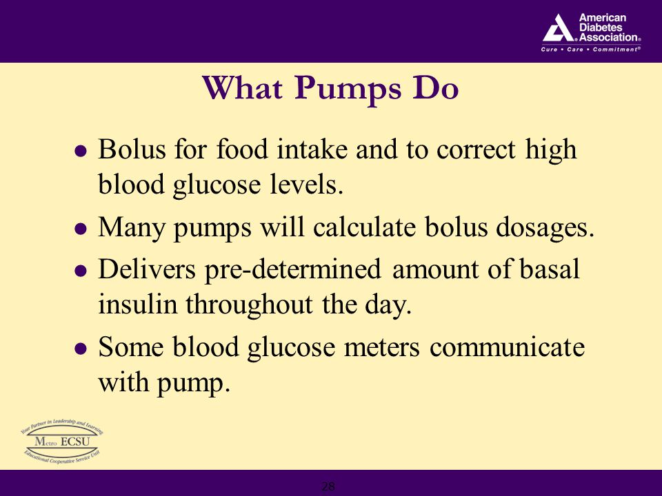 28 What Pumps Do Bolus for food intake and to correct high blood glucose levels.