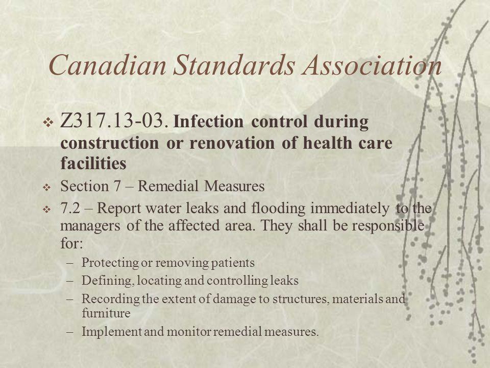 Canadian Standards Association  Z317.13-03.