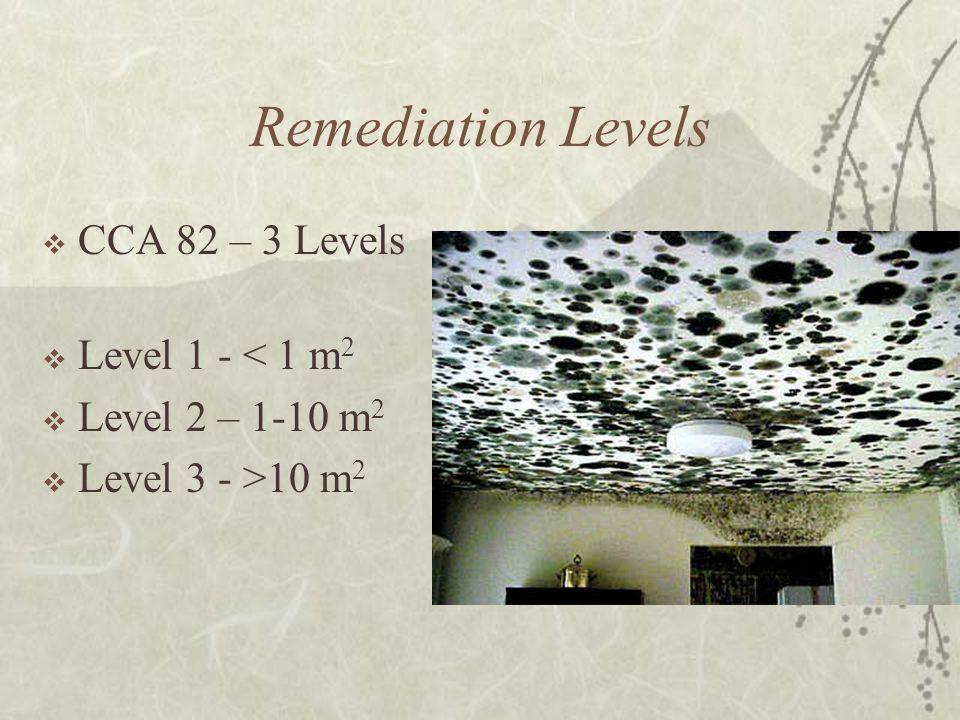 Remediation Levels  CCA 82 – 3 Levels  Level 1 - < 1 m 2  Level 2 – 1-10 m 2  Level 3 - >10 m 2