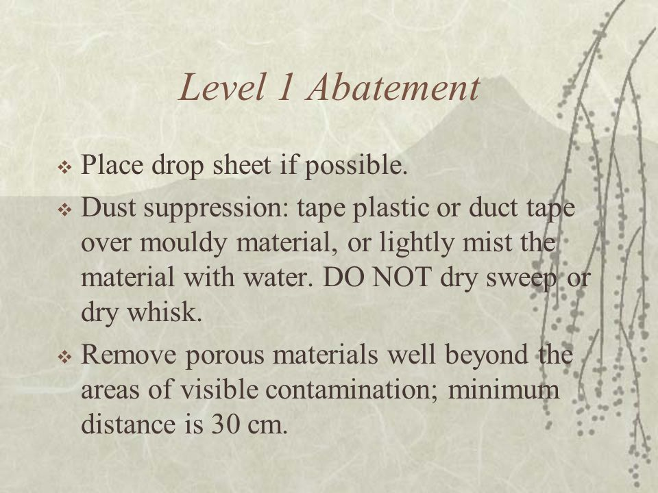 Level 1 Abatement  Place drop sheet if possible.