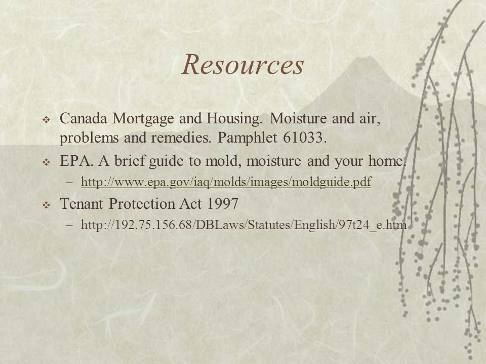 Resources  Canada Mortgage and Housing. Moisture and air, problems and remedies.