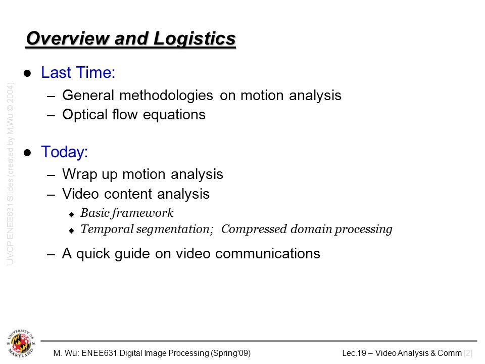 M. Wu: ENEE631 Digital Image Processing (Spring'09) Lec.19 – Video Analysis & Comm [2] Overview and Logistics Last Time: –General methodologies on mot