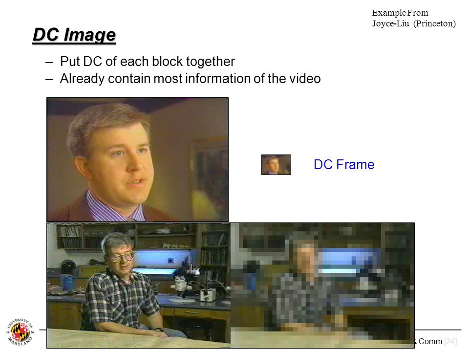 M. Wu: ENEE631 Digital Image Processing (Spring'09) Lec.19 – Video Analysis & Comm [24] DC Image –Put DC of each block together –Already contain most