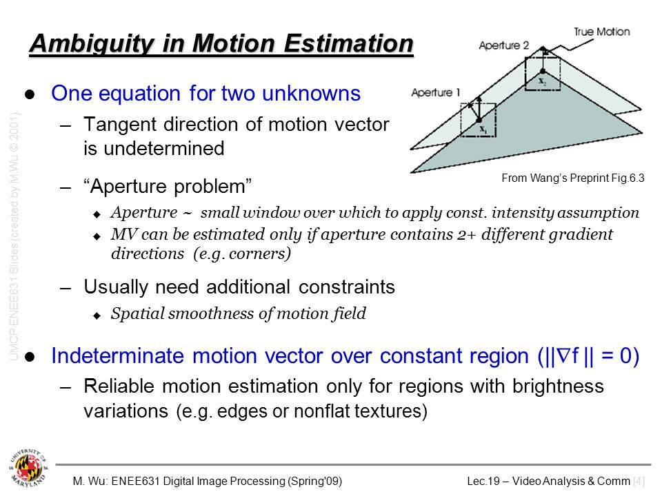M. Wu: ENEE631 Digital Image Processing (Spring'09) Lec.19 – Video Analysis & Comm [4] Ambiguity in Motion Estimation One equation for two unknowns –T