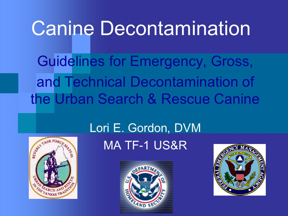 Canine Decontamination Guidelines for Emergency, Gross, and Technical Decontamination of the Urban Search & Rescue Canine Lori E.