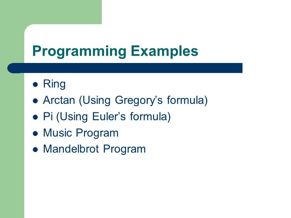 Programming Examples Ring Arctan (Using Gregory's formula) Pi (Using Euler's formula) Music Program Mandelbrot Program