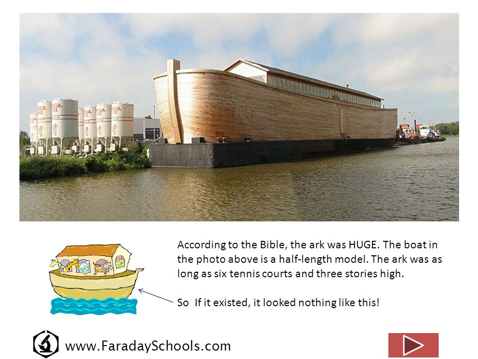 www.FaradaySchools.com According to the Bible, the ark was HUGE. The boat in the photo above is a half-length model. The ark was as long as six tennis