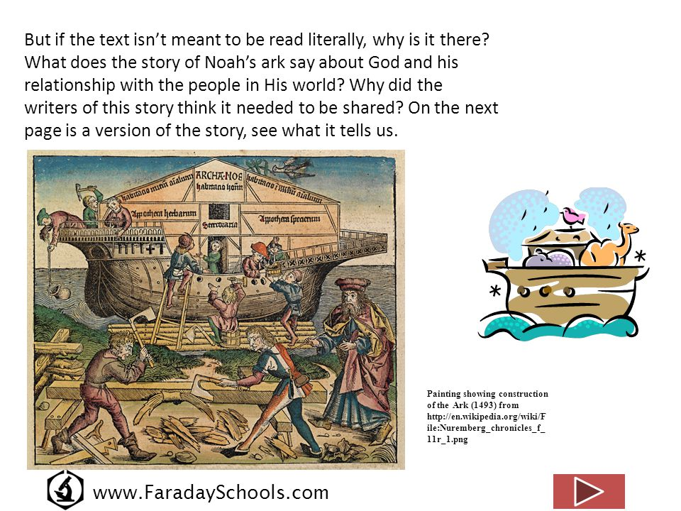 www.FaradaySchools.com Noah s sacrifice from http://en.wikipedia.org/wiki/File:NoahsSacrifice.JPG The Noah's ark story A few generations after Adam and Eve, God despaired of the people of Earth.