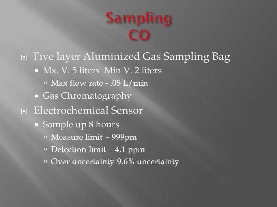  Five layer Aluminized Gas Sampling Bag  Mx. V. 5 liters Min V. 2 liters  Max flow rate -.05 L/min  Gas Chromatography  Electrochemical Sensor 