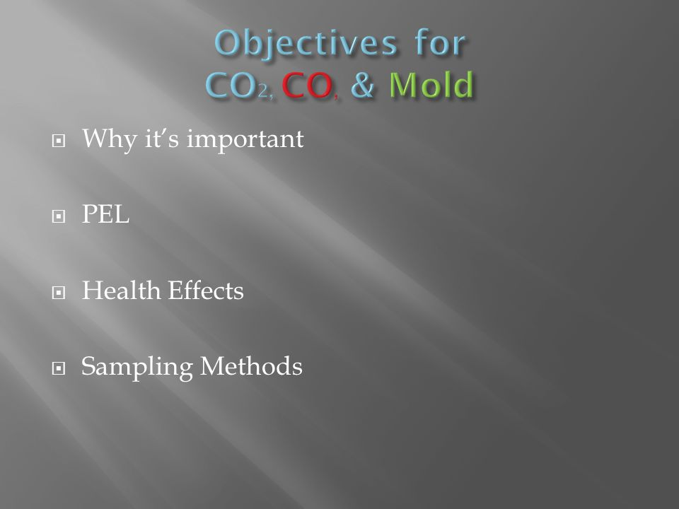  Why it's important  PEL  Health Effects  Sampling Methods