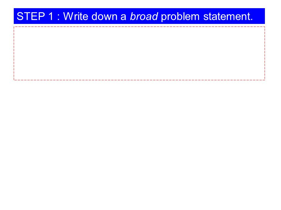 STEP 1 : Write down a broad problem statement.