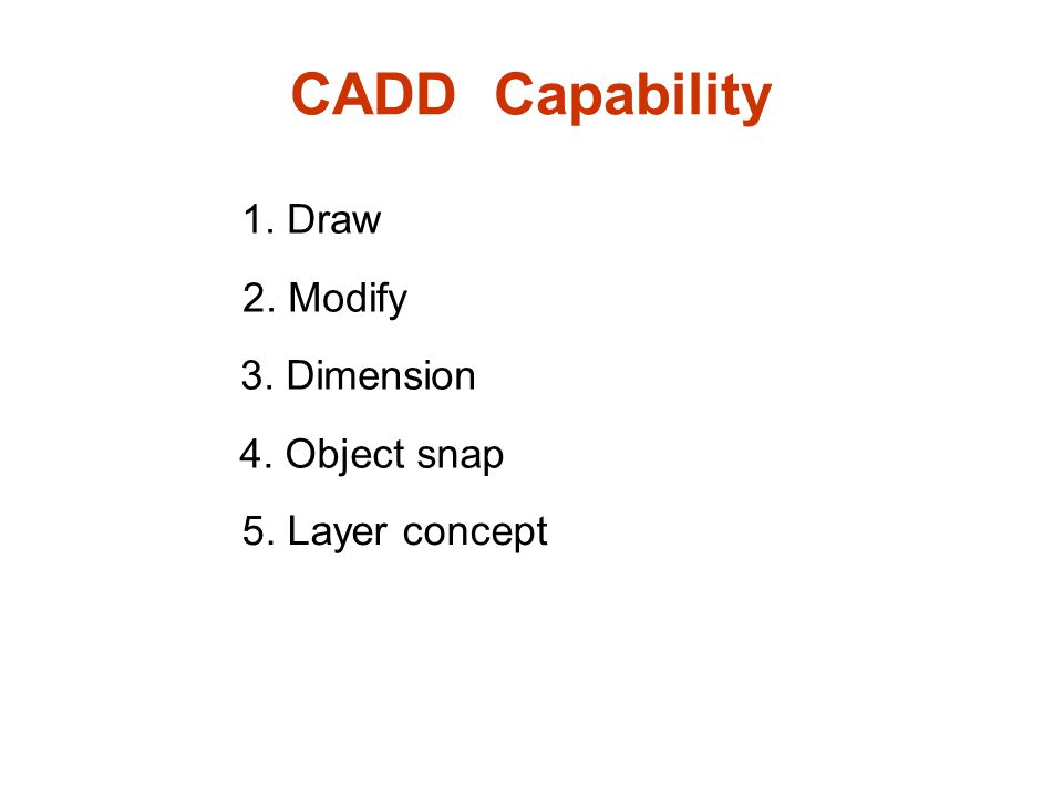 CADD Capability 1. Draw 3. Dimension 2. Modify 4. Object snap 5. Layer concept