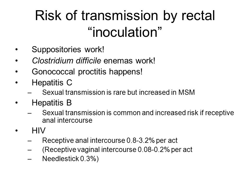 Risk of transmission by rectal inoculation Suppositories work.