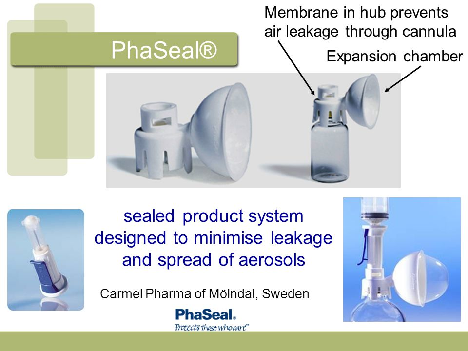 sealed product system designed to minimise leakage and spread of aerosols Carmel Pharma of Mölndal, Sweden Membrane in hub prevents air leakage throug
