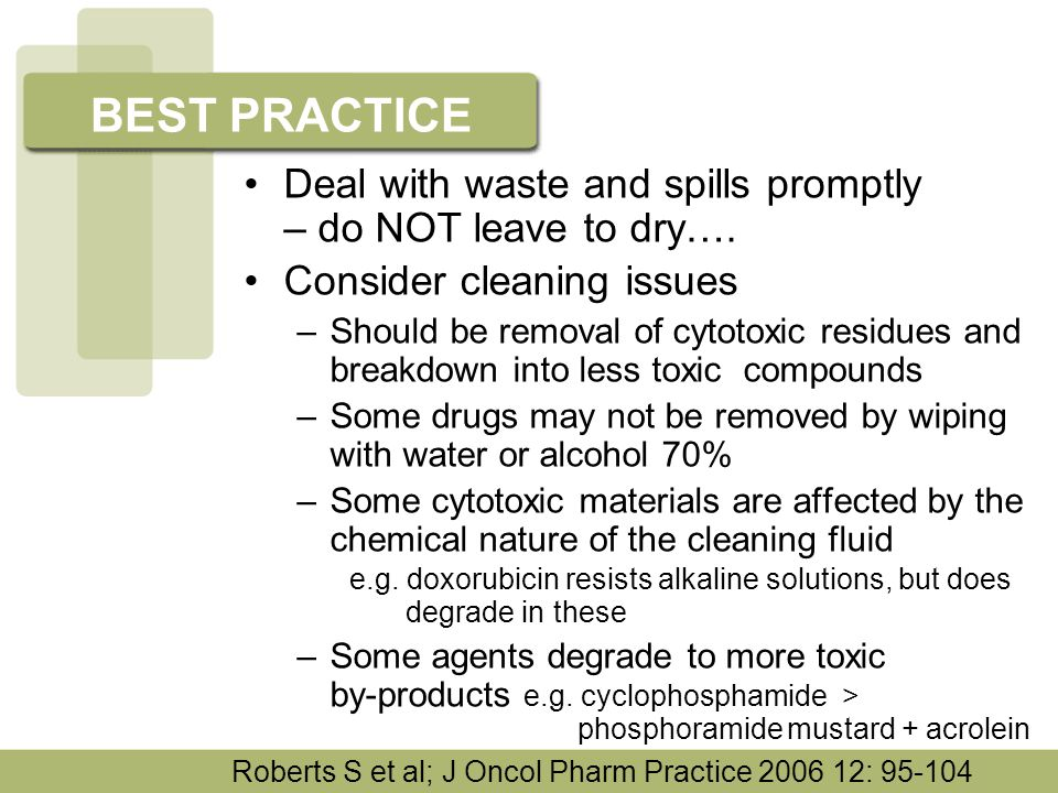 Deal with waste and spills promptly – do NOT leave to dry…. Consider cleaning issues –Should be removal of cytotoxic residues and breakdown into less