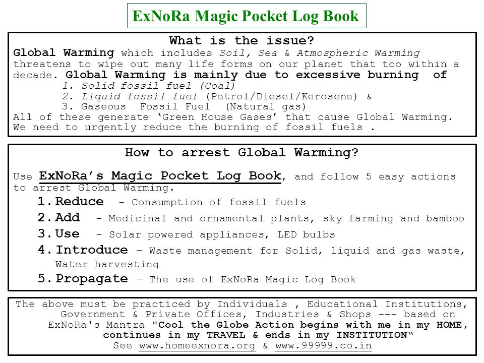 ExNoRa Magic Pocket Log Book What is the issue? Global Warming which includes Soil, Sea & Atmospheric Warming threatens to wipe out many life forms on