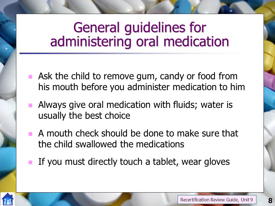 29 The role of DCF Med Admin certified staff in administering rectal and vaginal medication Do not directly administer Do not directly administer to any child DCF Med Admin certified personnel are not trained nor certified to administer any rectal or vaginal medications The children who have these types of medication ordered must be able to self administer the medication or have a nurse available to administer the medication Recertification Review Guide, Unit 9 29