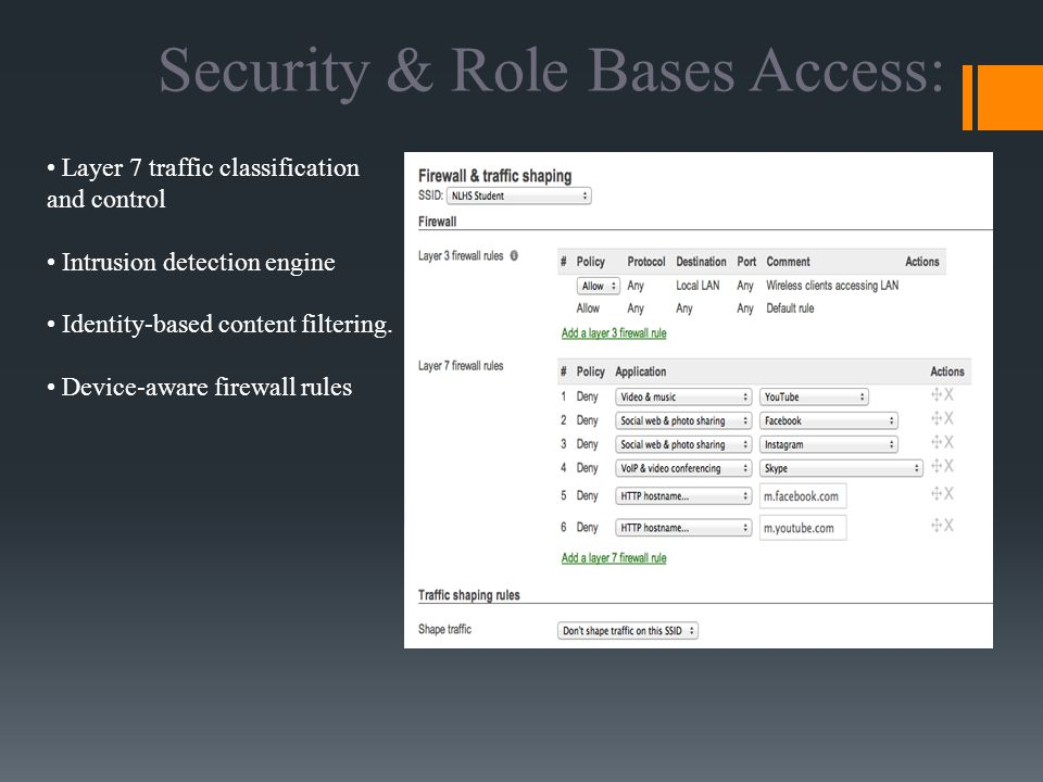 Layer 7 traffic classification and control Intrusion detection engine Identity-based content filtering.