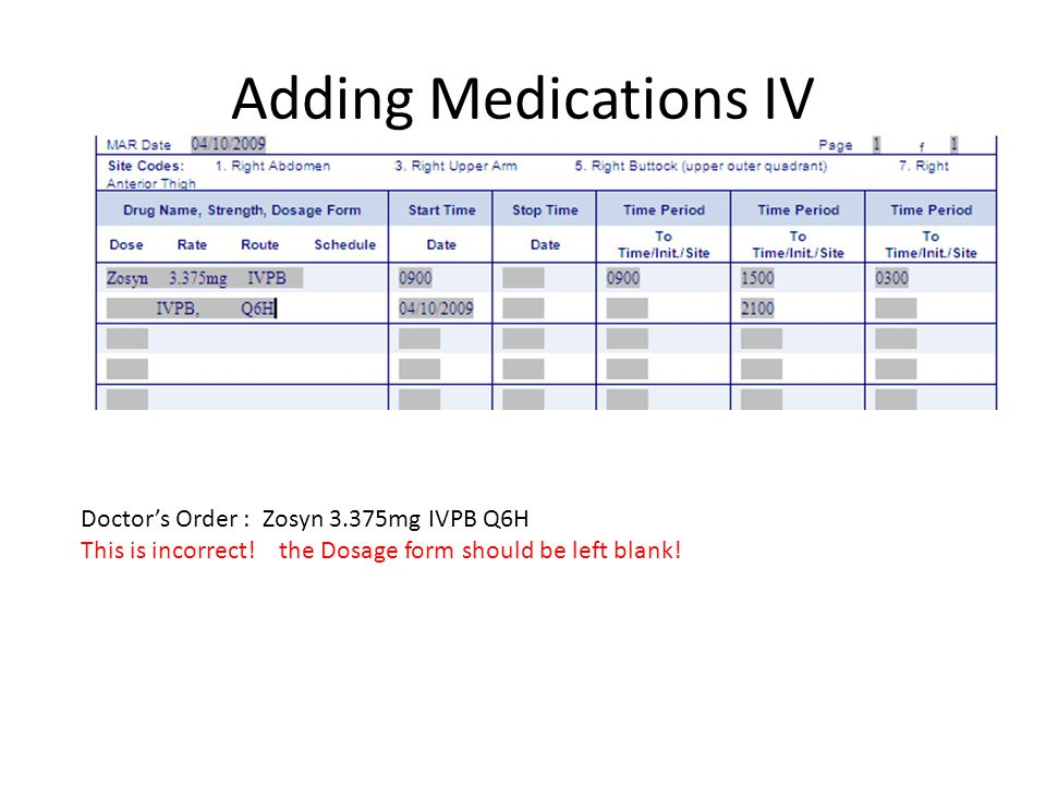 Adding Medications IV Doctor's Order : Zosyn 3.375mg IVPB Q6H This is incorrect! the Dosage form should be left blank!