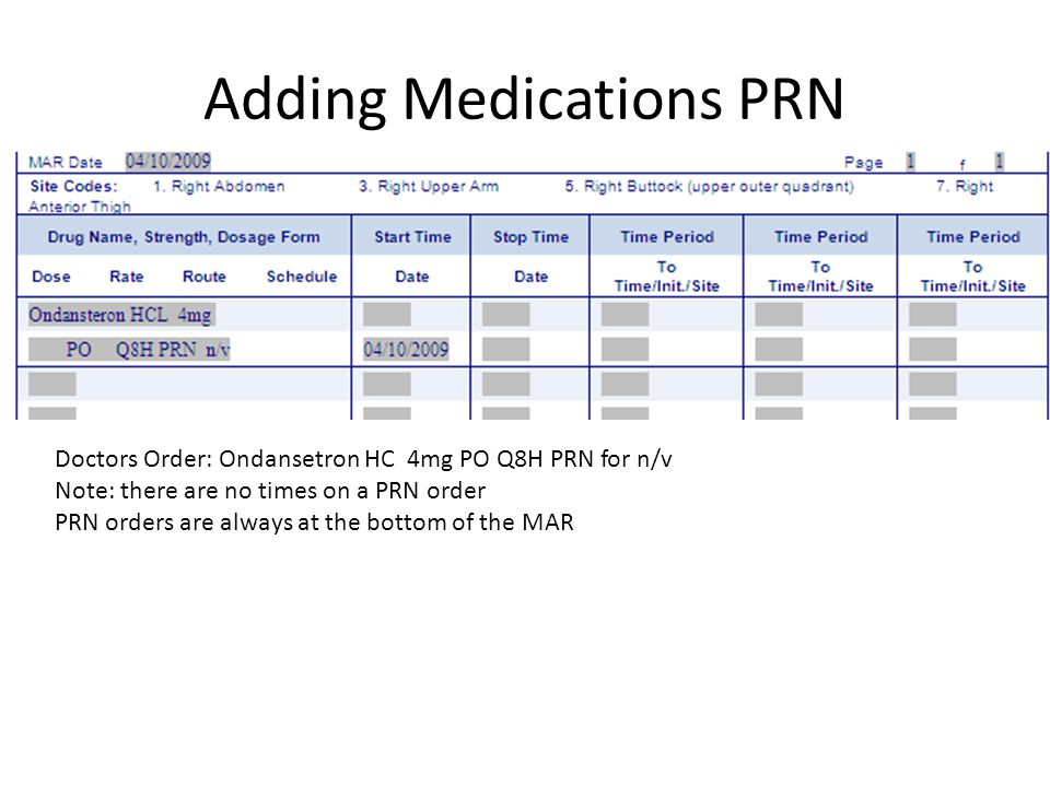Adding Medications PRN Doctors Order: Ondansetron HC 4mg PO Q8H PRN for n/v Note: there are no times on a PRN order PRN orders are always at the botto
