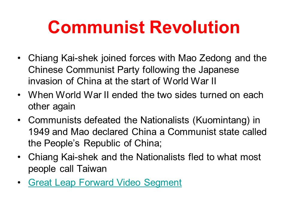 Communist Revolution Chiang Kai-shek joined forces with Mao Zedong and the Chinese Communist Party following the Japanese invasion of China at the sta